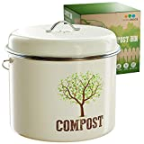 Third Rock Compost Bin for Kitchen Counter - 1.0 Gallon Compost Pail - Premium Dual Layer Powder Coated Carbon Steel Countertop Compost Bin - Includes Charcoal Filter