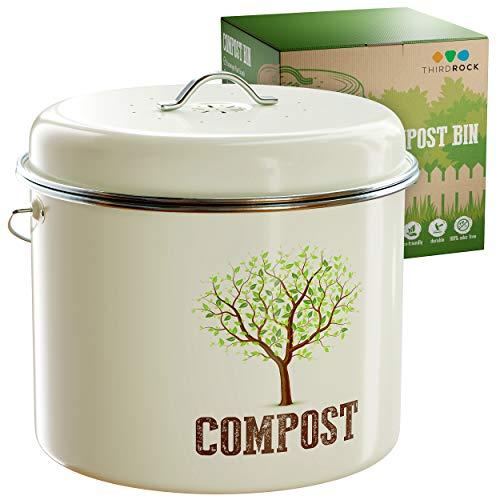 Third Rock Compost Bin Indoor Kitchen Sealed - 1.3 Gallon Compost Bucket - Premium Dual Layer Powder Coated Carbon Steel Countertop Compost Bin - Includes Charcoal Filter