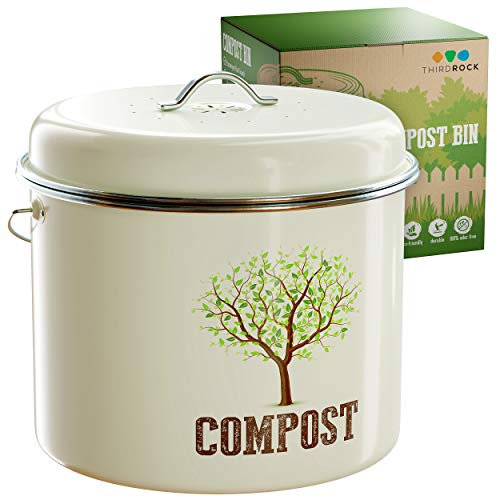 Find Discount Third Rock Compost Bin for Kitchen Counter – 1.3 Gallon Compost Pail – Premium Dual Layer Powder Coated Carbon Steel Countertop Compost Bin – Includes Charcoal Filter