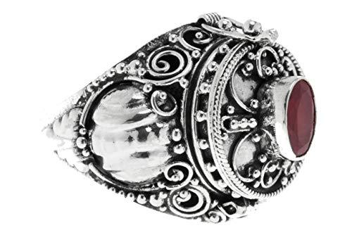 WINDALF Mittelalter Giftring ARONA 19 mm Echter Granat Handarbeit aus 925 Sterlingsilber (Silber, 56 (17.8))