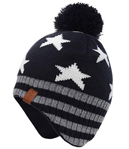 Foruhoo Jungen Mütze Strickmütze Beanie, Jungen Wintermütze Hut mit Fleecefutter(Marineblau Stern,55cm)