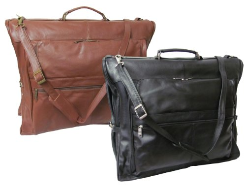 Leather Three-suit Garment Bag - Black (#2435-0)
