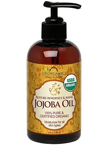 US Organic Jojoba Oil, USDA Certified Organic,100% Pure & Natural, Cold Pressed Virgin, Unrefined, Haxane Free, 8 Ounce in Amber Plastic Bottle with Pump for Easy Application by US Organic