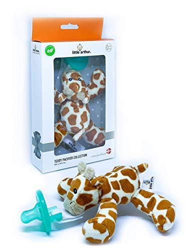 Little Arthur™ Plüsch Giraffen Schnuller | Medizinisch Zertifiziertes Silikon | Abnehmbarer Schnuller | 0-6 Monate | Neugeborenen Baby Geschenk Junge & Mädchen