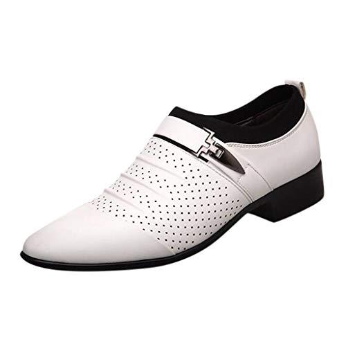 FNKDOR Schuhe Herren spitz Geschäft Lederschuhe Berufsschuhe Hohl Atmungsaktiv Slip-On Faule Schuhe Weiß 43 EU
