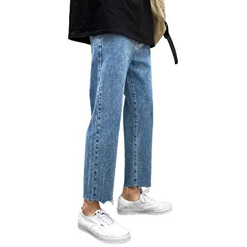 Pantalones Vaqueros de los Hombres de Moda Pierna Recta Suelta Pierna Ancha Pantalones Vaqueros Casuales Atractivos de la Moda de Verano Vaqueros Todo fósforo 36