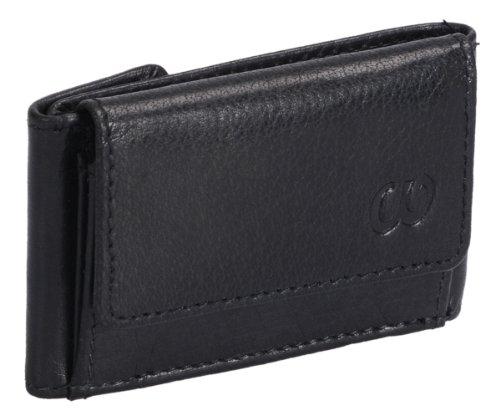Mini-portafoglio LOUANA, Vera Pelle, nero 8x5x1,5cm