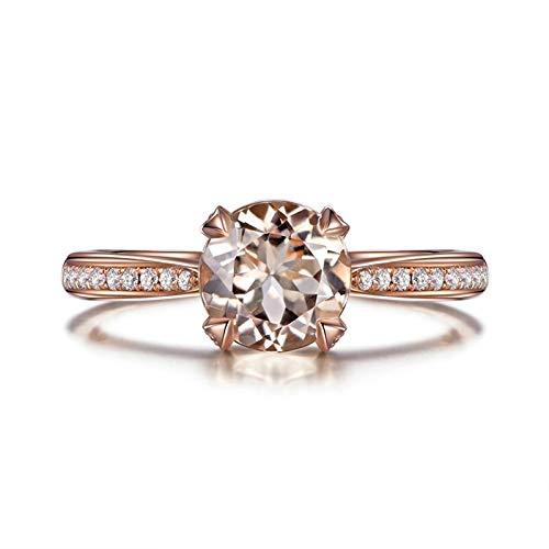 Beydodo Anillo de Boda Mujer Oro Rosa 18K Redonda Morganita Naranja Rosa 1.07ct y Diamante 0.14ct Talla 6,75