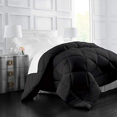 Italian Luxury Goose Down Alternative Comforter - All Season - 2100 Series Hotel Collection - Luxury Hypoallergenic Comforter - King,Cal King - Black