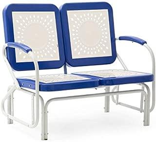 Retro Vintage Style Blue White Metal Patio Glider Bench Sofa Settee Outdoor Furniture