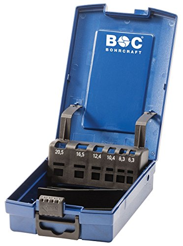 Bohrcraft 00811520006de la Industria de plástico caja azul oscuro KS6de K vacíos de 6piezas F. Avellanador cónico multigrado 6, 3/8, 3/10, 4/12, 4/16, 5/20, 5