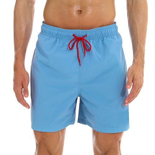 anqier Badeshorts für Männer Badehose für Herren Jungen Schnelltrocknend Schwimmhose Strand Shorts,Hellblau,XS(EU)-MarkeGröße:S-Taille 70-76cm