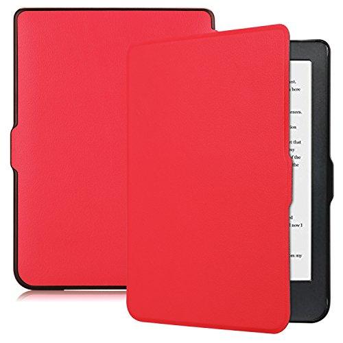 Funluna Cover Kobo Clara HD, Slim Folio Ultra Sottile Custodia con Funzione di Auto Sveglia/Sonno Case Protettiva in Pelle PU per Kobo Clara HD e-Book Reader 6', Rosso