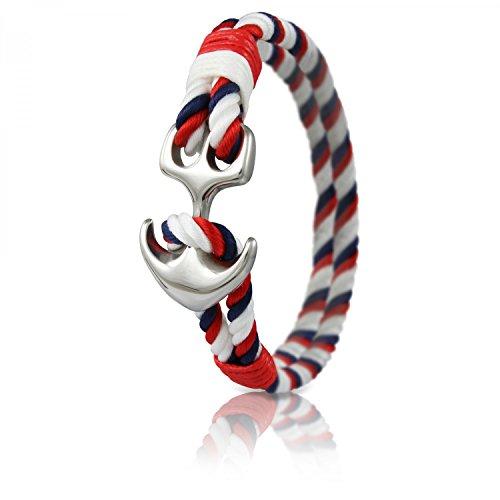 Skipper Anker-Armband mit Silbernem Edelstahl Anker für Damen und Herren - Weiß/Rot 7039