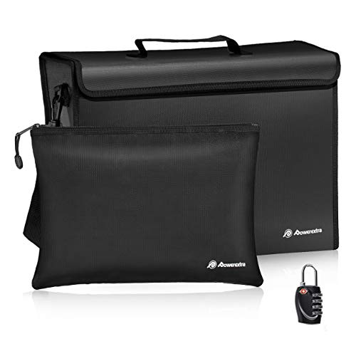 Powerextra Fireproof Document Bags (17 x 12 x 5.8 inch) and Small Fireproof Bag (13.4 x 9.4 inch) Waterproof Fire Safe Bag with Lock for A4 Document Holder, File, Cash, Tablet and Valuables