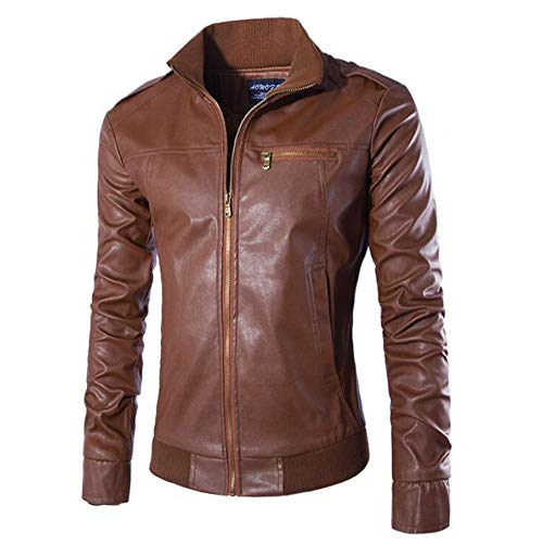 NRUTUP Winter Clothing, Men's Casual Jacket Long Sleeve Solid Stand Zipper Leather Warm Top Suits & Sport Coats(Brown,L)