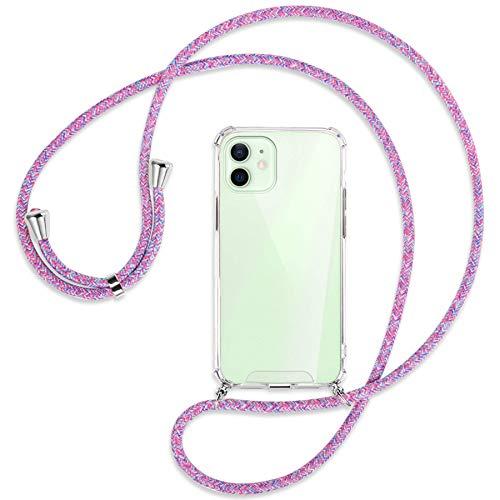 mtb more energy Collana Smartphone per Apple iPhone 12, 12 PRO (6.1'') - Unicorno Viola - Custodia indossabile per Collo - Cover a Tracolla con cordina
