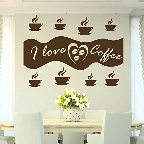 WERWN Me Encanta el café calcomanías de Pared Frijol Capuchino Bebidas Calientes café decoración de Interiores Puertas y Ventanas Pegatinas de Vinilo Papel Tapiz de Palabra