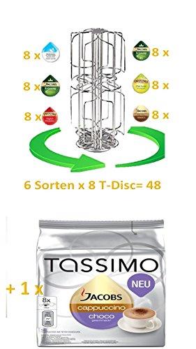 Tassimo Jacobs Cappuccino Choco + James Premium Drehständer passend für 6 Sorten = 48 T-Disc