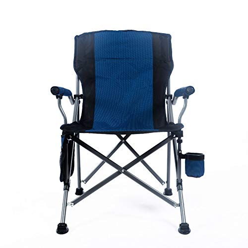 Ihoming Folding Camping Chair Heavy Duty Support 330 lbs Outdoor Mesh Back Quad Chair with Arm Rest Cup Holder and Portable Carrying Bag