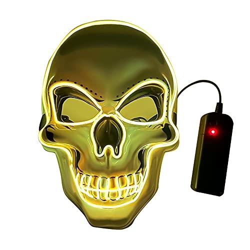 DFGDF Máscara de Halloween de Calavera con luz LED, Accesorios de Cosplay, Esqueleto, Resplandor Aterrador, Multicolor, EL Wire, máscara de Cara Completa, Fiestas de Disfraces, Carnaval