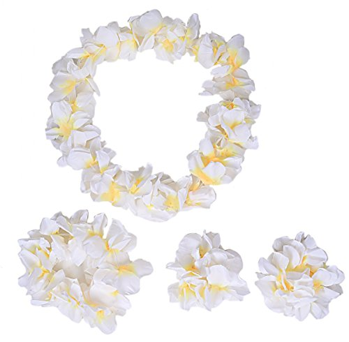 Hawaiian Luau Flower Leis Jumbo Necklace Bracelets Headband Set White