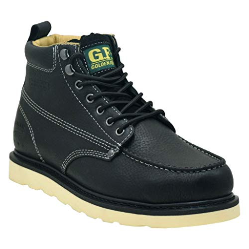 "Golden Fox Steel Toe Work Boots Men's 6"" Moc Toe Wedge Comfortable Boots for Construction Size 12 D(M) US Black"