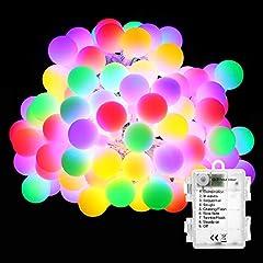 BrizLabs Cadena de Luces 50 LED Guirnalda Luces Batería 8 Modos con Temporizador, Multicolor Resistente al Agua Luces de Bola de Navidad para Exterior,Interior, Casas, Boda, Jardín, Fiesta