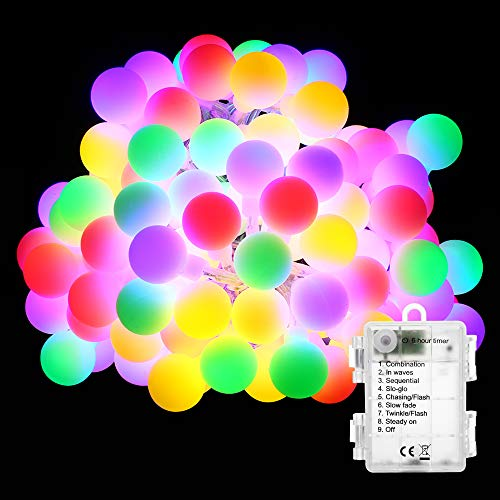 BrizLabs Catena Luminosa Globo 5M 50 LED Luci Stringa Natalizie 8 Modalità di Illuminazione Impermeabile, Bulbo Lampade per Interne, Esterno, Casa, Festa, Matrimonio, Giardino, Multicolore