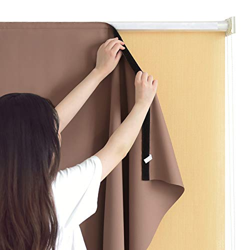 RYB HOME Blackout Curtain Liner - Portable Indoor Outdoor Use Cordless Thermal Insulated Liner Match with Roller Shades Faded Resist Long Privacy Drape for Balcony/Patio, Wide 8 by Tall 6, Mocha
