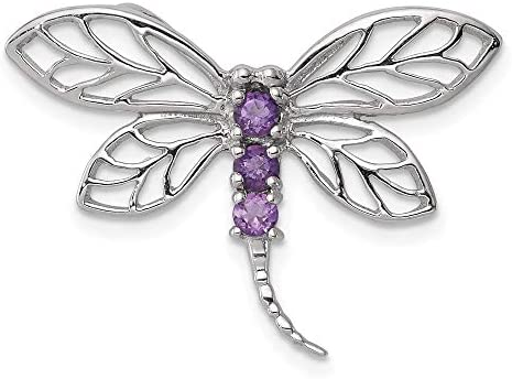 925 Sterling Silver Purple Amethyst Dragonfly Pendant Charm Necklace Slide Chain Insect Arachnid product image
