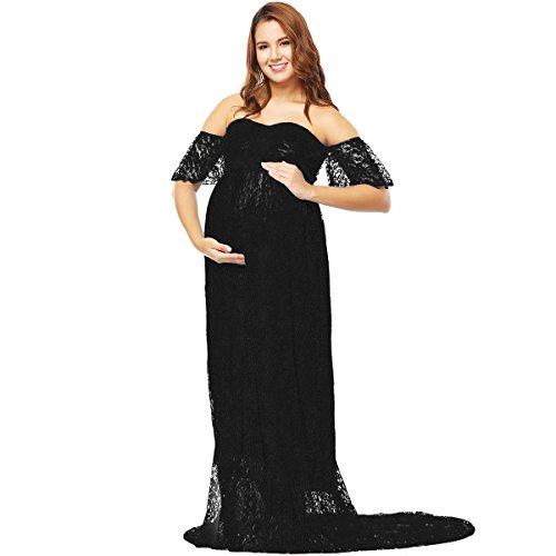 Vestido de embarazo de fotografía elegante, vestido largo de encaje de manga corta para mujer, vestido de boda, fiesta, ceremonia S-XL Negro S