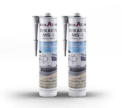 2 x Dekalin DEKAsyl MS-5 MS-Polymer Kraftkleber - elastischer Kleb- und Dichtstoff für Camper, Caravan, Wohnmobil 2 x 290 ml (weiß)