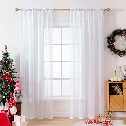 MIULEE Tende 2 Pannelli Trasparenti in Voile con Passanti Morbidi Finestre per Camera da Letto e Soggiorno 140x260cm Bianco