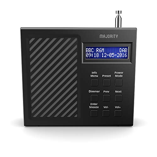 Majority Arbury II DAB/DAB + Radio portatile digitale e FM - Batteria ricaricabile di lunga durata 6 ore - Doppia sveglia - Alimentazione USB… (Nero)