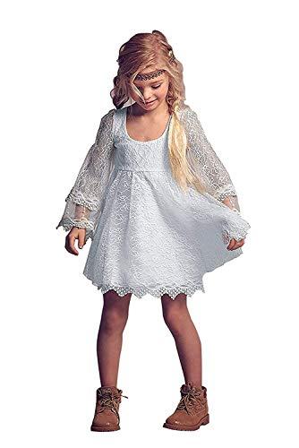 CDE Boho Kurze Kinder Spitzenkleid mit Lang Trompetenärmel/Chic A-Linie Kommunionkleider Brautjungfern Kleider Blumenmädchenkleider für Mädchen 2-12 Jahre (Weiß, Größe 8)