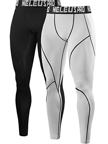 Neleus Men's 2 Pack Compression Pants Workout Running Tights Leggings,6013,Black,White,US XL,EU 2XL