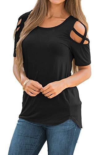 Camisetas de Manga Corta para Mujer Hombro Frío Blusas con Cuello Redondo sin Hombro Tops Camisa Elegante Casual Color Liso T-Shirt (XL, B_Negro)