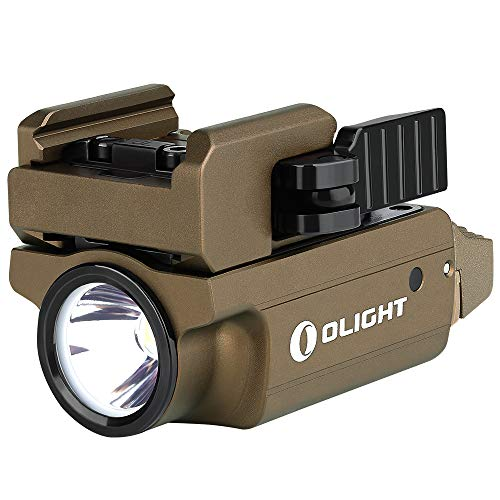 OLIGHT PL-Mini 2 Valkyrie 600 Lumens Compact Weaponlight with Magnetic USB Charging Cable, Adjustable Rail, Built-in Lithium Polymer Battery (Desert Tan)