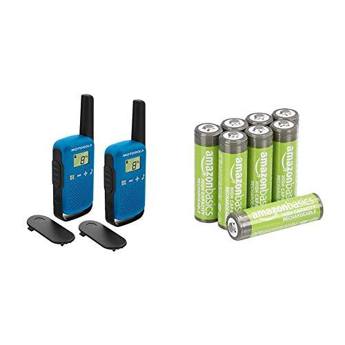 Motorola Talkabout T42 PMR-Funkgeräte (2er Set, PMR446, 16 Kanäle, Reichweite 4 km) blau & Amazon Basics AA-Batterien mit hoher Kapazität, wiederaufladbar, vorgeladen, 8 Stück
