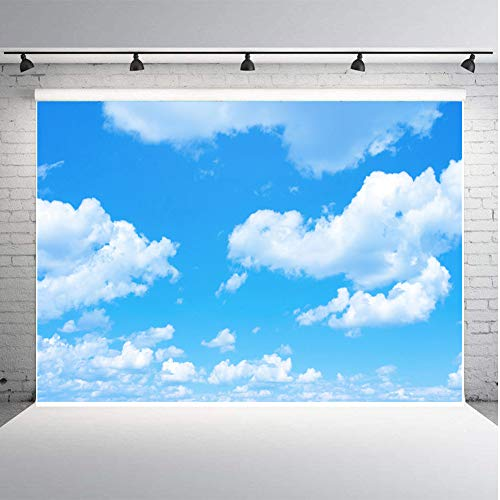 Fanghui 7x5ft Vinyl Photography Backdrops Blue Sky White Cloud Sunny Sky Photo Background Baby Shower Birthday Party Studio Props Booth Banner