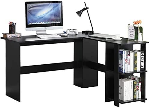 SogesHome Computertisch L-förmiger Schreibtisch Großer Eckschreibtisch mit 2 Regalen, für denHeimarbeitsplatz,Konferenztisch,PCWorkstation,130 cm * 136 cm, SH-XTD-SC01-BK