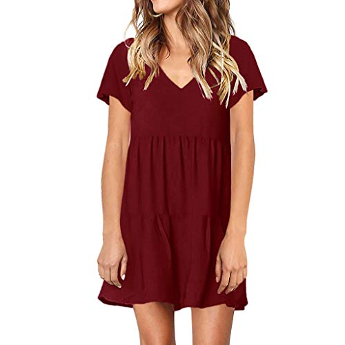 LEXUPE Women Summer Tunic Dress V Neck Casual Loose Flowy Swing Shift Dresses(G-Wein,Small)