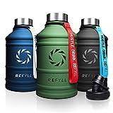REFYLL Botella de acero inoxidable 'Hero' en 2,2 l, botella de fitness para deporte, gimnasio, botella de agua a prueba de fugas, robusta, sin BPA, con tapa deportiva gratuita (verde militar)