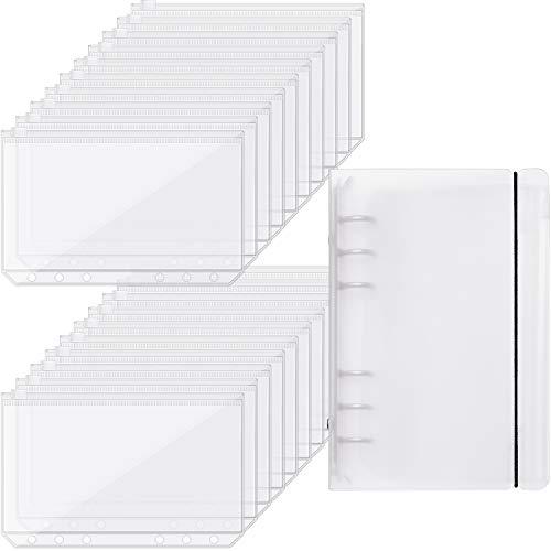 20 Pieces Binder Pocket Envelopes 6 Holes Clear PVC Zipper Binder...