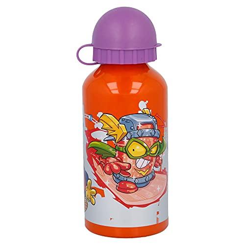 Super Zings | Botella De Aluminio Para Niños - Cantimplora infantil - Botella de agua reutilizable - 400 ML