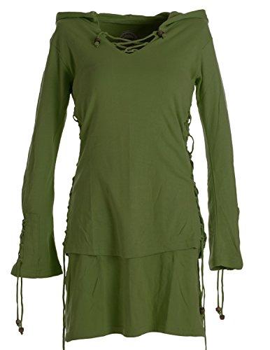 Vishes - Alternative Bekleidung – Warmes Doppellagiges Elfenkleid mit Zipfelkapuze und Bändern zum Schnüren olivegrün 38