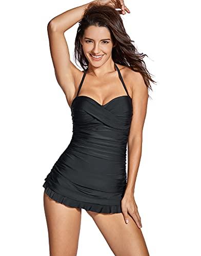 costume da bagno donna nero a fascia Dobreva Donna Costume da Bagno a Fascia Drappeggiato Capestro al Collo con Gonna Nero 44