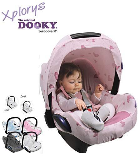 Original DOOKY HOODY ** Style UV+ ** Capote/Protège pare-soleil - universel pour siège auto Maxi-Cosi (Citi, Pebble, CabrioFix, Cabrio.), Römer, Cybex et autre (KomplettSet Pink Hearts)