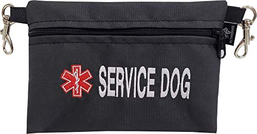 ActiveDogs Service Dog Large Clip-On Embroidered Accessory Pouch w/Medical Alert Sign for K9 Harness Belt Loops, Vests - 7' x 5' Zipper Bag
